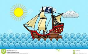 pirate ship on the ocean cartoon stock footage video 41788702