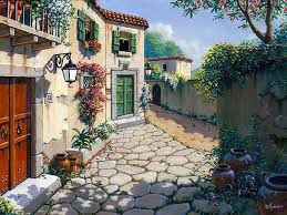 old town italy sunny world paintings bob pejman painting architecture dual wallpaper 1024x768