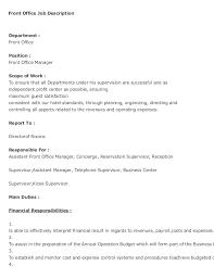 front office sle layout concierge job description head concierge performance appraisal job