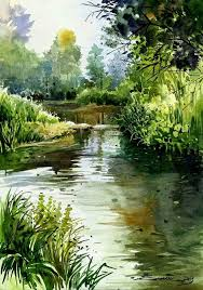 watercolor landscape forest stream river water love watercolors