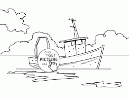 realistic fishing boat coloring page for kids transportation