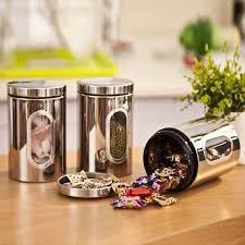 food canisters kitchen 3pcs stainless steel food storage canisters jars bottle set with