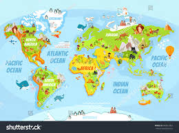 Eurasia Map Cartoon World Map Funny Animalssea Creaturesvarious Stock Vector