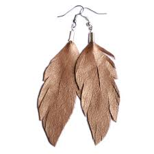 feather earrings online leather feather earrings metallic gold bohemian dreamer