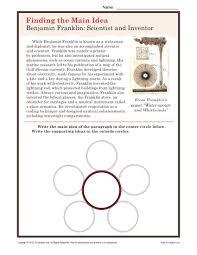 middle main idea worksheet about ben franklin