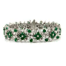 diamond emerald bracelet images Estate emerald and diamond bracelet daisy exclusive jpg