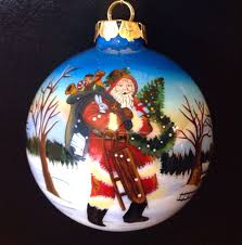 antique heritage hand painted glass ornament christmas santa 4