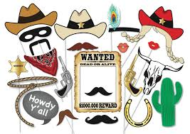 cowboy or cowgirl photo booth party props set 25 piece