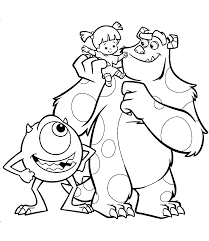monsters inc coloring pages boo monster inc coloring pages mike wazowski and james p sullivan boo