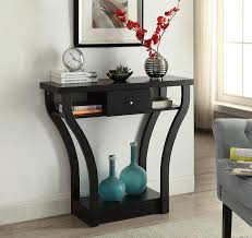 black entry hall table black finish curved console sofa entry hall table with shelf