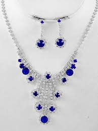 sapphire necklace set images Vintage inspired rhinestone blue sapphire crystal necklace drop jpg