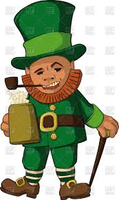 leprechaun with a mug of foamy beer in top hat with a walking