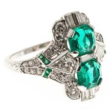 art deco emerald diamond platinum ring for sale at 1stdibs