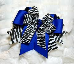 african american cheer hair bows cheer bow zebra print with royal blue accent girls hair bow