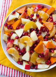 winter fruit salad with honey lemon syrup broken