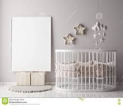 mock up poster frame in children room with christamas decoration