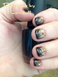 black shellac with gold glitter ombré nail designs nails by