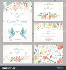 beautiful vintage wedding set cute flowers stock vector 207570337