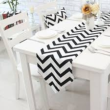 zig zag table runner chevron zig zag cotton linen canvas white printed table runner