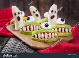 halloween background funny funny halloween eadible monsters scary food stock photo 327824384