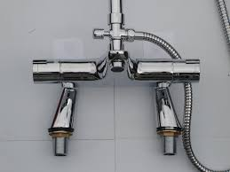 deck thermostatic bath shower mixer taps rigid riser rain head