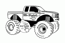 mr bigfoot monster truck coloring page for kids transportation