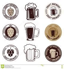 set of craft beer labels set of vintage beer mugs stock photo