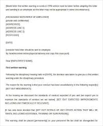 example of written warning letter to employee uk docoments