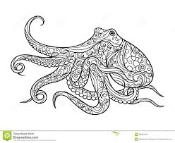 octopus coloring book for adults vector stock vector image 68450402