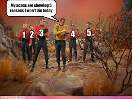 photo of captain kirk with red shirts embrace the nerd within