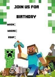 free printable minecraft birthday party invitation kids