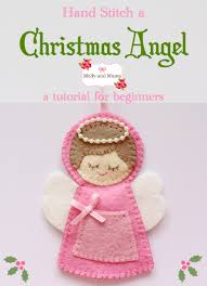 stitch this felt angel christmas ornament using these step by step