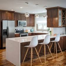 white kitchen countertops with brown cabinets 75 beautiful kitchen with brown cabinets and white