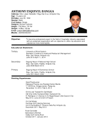 example of resume of hotel restaurant management student resume