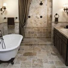 bathroom cozy travertine tile floor with freestanding bathtubs