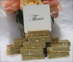 gold wedding table numbers gold wedding table number holder trimmed with a gold crystal wrap