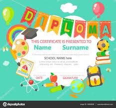 diplomas de primaria descargar diplomas de primaria plantilla de certificado de diploma niños vector de stock tandav