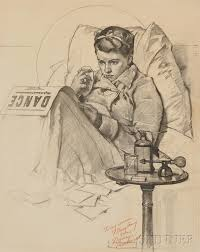 norman rockwell american 1894 1978 study for sick in bed