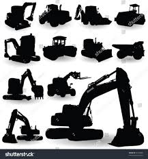 jeep silhouette construction work machine silhouette on white stock vector
