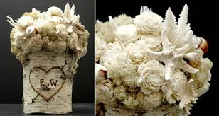 unique wedding centerpieces reindeer moss rice shells manzanita branch