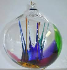 blown glass ornaments and glass witchballs