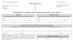 Household Goods Move Estimate by Sle Household Goods Bill Of Lading Template