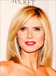 lob hair with side fringe heidi klum lob with side fringes for more elegnt look hair