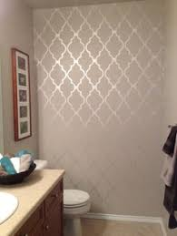 bathroom stencil ideas paint the wall with flat paint use a stencil and use high gloss