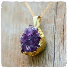 amethyst crystal necklace images Handmade gold dipped amethyst crystal necklace hippies hope shop png