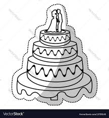 wedding cake outline wedding cake outline royalty free vector image