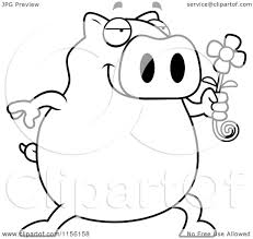 daisy coloring page cartoon clipart of a black and white pig holding a daisy flower