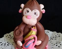 fondant monkey cake topper monkey baby shower birthday cake
