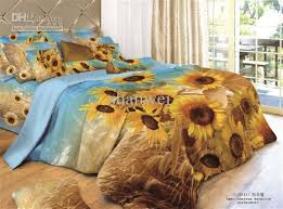 Sunflower Bed Set Quality Sunflower Yellow Print Cotton Duvet Doona Cover Sheet Sets