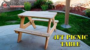 Build A Picnic Table by How To Build A 4ft Picnic Table Youtube